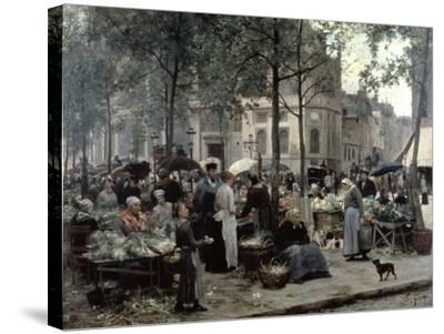 Les Halles, Paris 'Central Market', 1880-Gilbert Victor Gabriel-Stretched Canvas Print