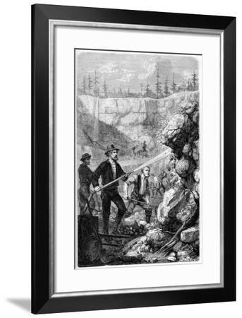 Hydraulic Mining, California, 1859-Gustave Adolphe Chassevent-Bacques-Framed Giclee Print