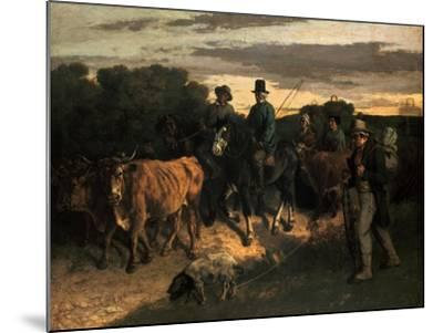 The Farmers of Flagey (Les Paysans De Flagey), 1855-Gustave Courbet-Mounted Giclee Print