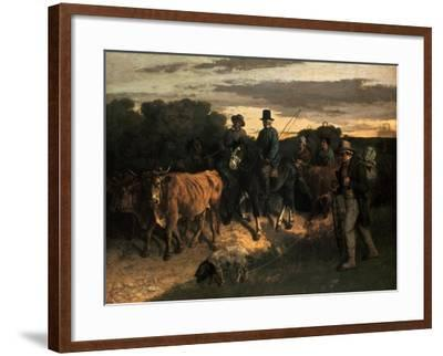 The Farmers of Flagey (Les Paysans De Flagey), 1855-Gustave Courbet-Framed Giclee Print