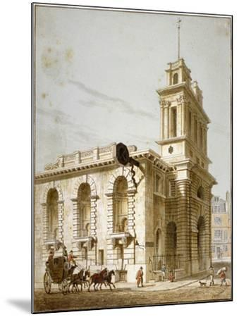 North-West View of the Church of St Mary Woolnoth, City of London, 1812-George Shepherd-Mounted Giclee Print