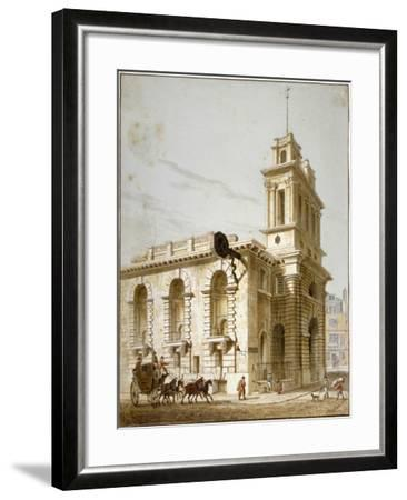 North-West View of the Church of St Mary Woolnoth, City of London, 1812-George Shepherd-Framed Giclee Print