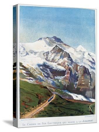 The Electric Railroad to Mount Jungfrau, Swiss Alps, 19th Century-Gustave Francois Lasellaz-Stretched Canvas Print
