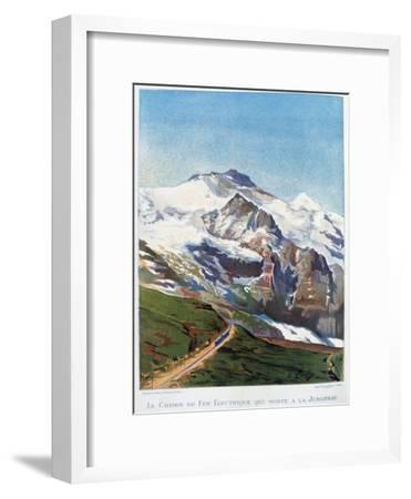The Electric Railroad to Mount Jungfrau, Swiss Alps, 19th Century-Gustave Francois Lasellaz-Framed Giclee Print
