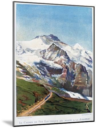 The Electric Railroad to Mount Jungfrau, Swiss Alps, 19th Century-Gustave Francois Lasellaz-Mounted Giclee Print
