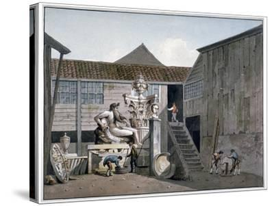 Coade Stone Factory Yard on Narrow Wall Street, Lambeth, London, C1800-George Shepherd-Stretched Canvas Print