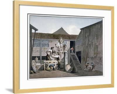 Coade Stone Factory Yard on Narrow Wall Street, Lambeth, London, C1800-George Shepherd-Framed Giclee Print