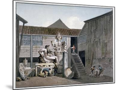 Coade Stone Factory Yard on Narrow Wall Street, Lambeth, London, C1800-George Shepherd-Mounted Giclee Print