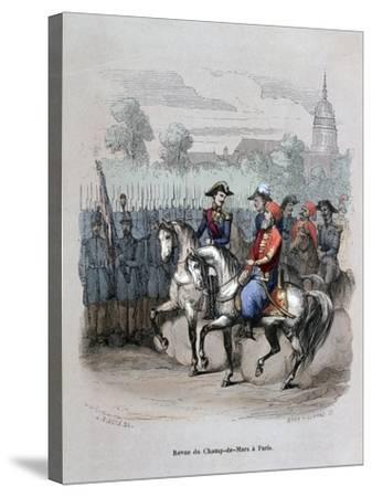 Military Review with Ibrahim Pacha, Champ De Mars, Paris, C1846-Gerard Corbiau-Stretched Canvas Print