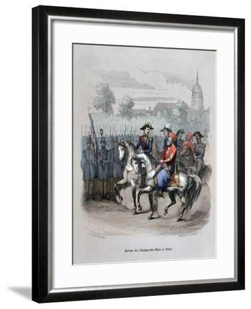 Military Review with Ibrahim Pacha, Champ De Mars, Paris, C1846-Gerard Corbiau-Framed Giclee Print