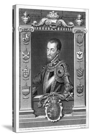 Philip II, King of Spain, 16th Century, (173)-George Vertue-Stretched Canvas Print