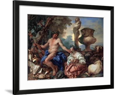 Pastoral Scene. Faun and Shepherdess, 1650S-Giovanni Benedetto Castiglione-Framed Giclee Print