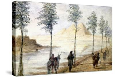 Pyramids at Giza, Egypt, 19th Century-Hector Horeau-Stretched Canvas Print