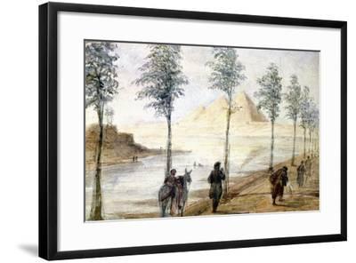Pyramids at Giza, Egypt, 19th Century-Hector Horeau-Framed Giclee Print