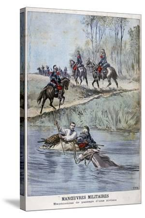 French Military Maneuvers, Fording a River, 1898-Henri Meyer-Stretched Canvas Print
