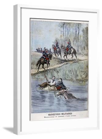 French Military Maneuvers, Fording a River, 1898-Henri Meyer-Framed Giclee Print