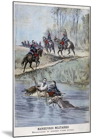 French Military Maneuvers, Fording a River, 1898-Henri Meyer-Mounted Giclee Print