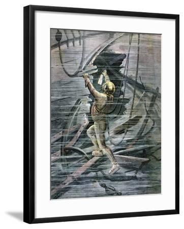 A Diver Searching a Wreck in La Havre Harbour, France, 1892-Henri Meyer-Framed Giclee Print
