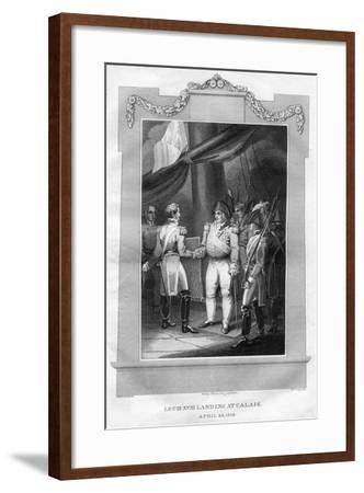 King Louis XVIII of France (1755-182) Landing at Calais, April 1814-I Romney-Framed Giclee Print