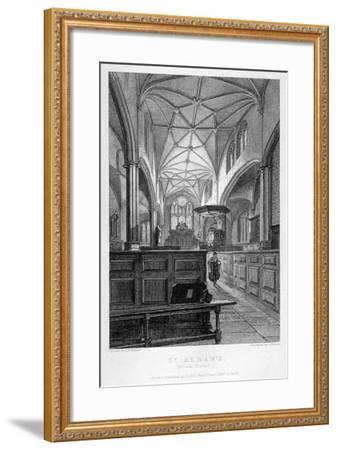 Interior View of the Church of St Alban, Wood Street, City of London, 1838-J Lemon-Framed Giclee Print