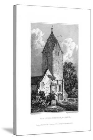 Sompting Church, Sussex, 1829-J Shury-Stretched Canvas Print