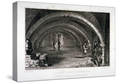 Interior View of the Crypt, St Saviour's Church, Southwark, London, 1830-J Shury-Stretched Canvas Print