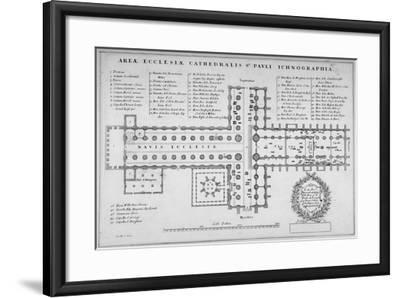 Plan of the Old St Paul's Cathedral, City of London, 1657-J Harris-Framed Giclee Print