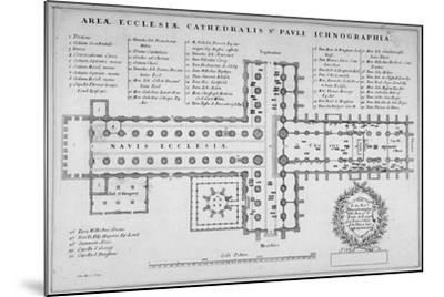 Plan of the Old St Paul's Cathedral, City of London, 1657-J Harris-Mounted Giclee Print