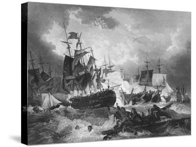 Admiral Duncan's Victory over the Dutch Fleet, North Sea, 11 October 1797-J Rogers-Stretched Canvas Print