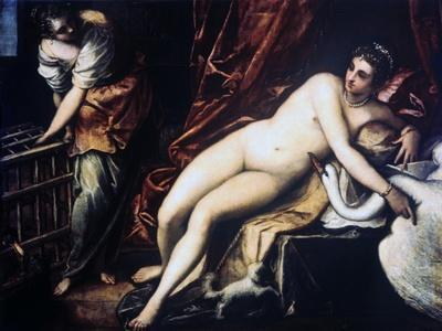 Leda and the Swan, 1550-1560-Jacopo Tintoretto-Framed Giclee Print