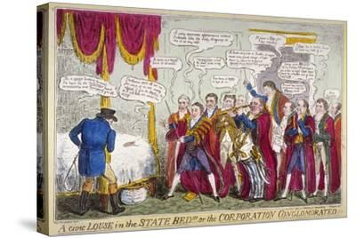 A Civic Louse in the State Bed!!!, or the Corporation Conglomorated!!, 1824-Isaac Robert Cruikshank-Stretched Canvas Print