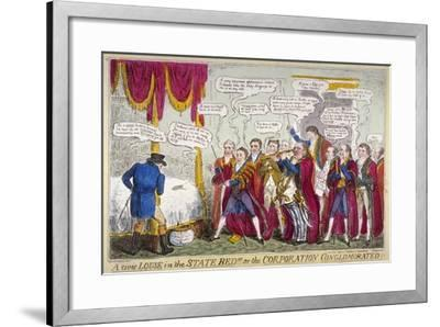 A Civic Louse in the State Bed!!!, or the Corporation Conglomorated!!, 1824-Isaac Robert Cruikshank-Framed Giclee Print