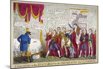A Civic Louse in the State Bed!!!, or the Corporation Conglomorated!!, 1824-Isaac Robert Cruikshank-Mounted Giclee Print