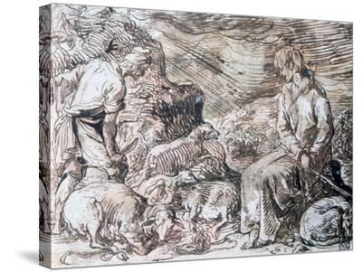 Hippocrate and Démocrite, C1584-1629-Jacques de Gheyn-Stretched Canvas Print