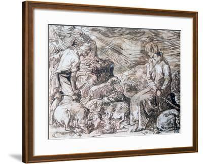 Hippocrate and Démocrite, C1584-1629-Jacques de Gheyn-Framed Giclee Print