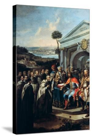 Bela III Founding the Cistercian Monastery at Szentgotthard in 1183-Istvan Dorfmeister-Stretched Canvas Print