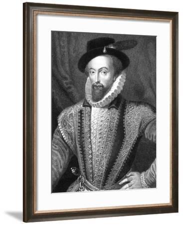 Sir Walter Raleigh, English Writer, Poet, Courtier, Adventurer and Explorer-J Fitler-Framed Giclee Print