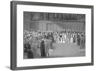 Interior of Christ's Hospital School, Newgate Street, City of London, 1822-JG Walker-Framed Giclee Print