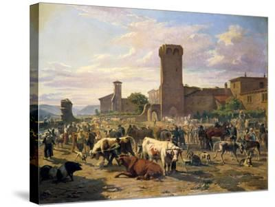 Livestock Market in L'Arbresle, France, Mid-Late 19th Century-JB Louis Guy-Stretched Canvas Print