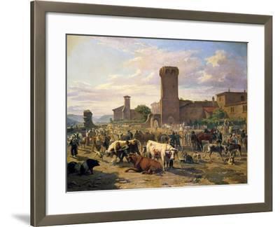 Livestock Market in L'Arbresle, France, Mid-Late 19th Century-JB Louis Guy-Framed Giclee Print