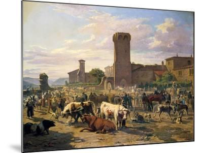 Livestock Market in L'Arbresle, France, Mid-Late 19th Century-JB Louis Guy-Mounted Giclee Print