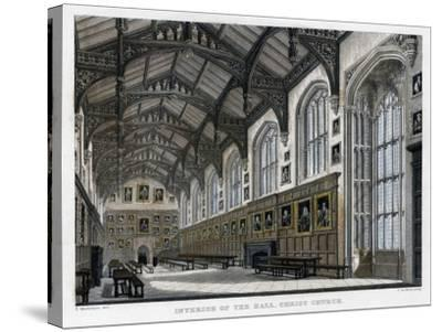 Interior of Christ Church Hall, Oxford University, C1830S-JH Le Keux-Stretched Canvas Print