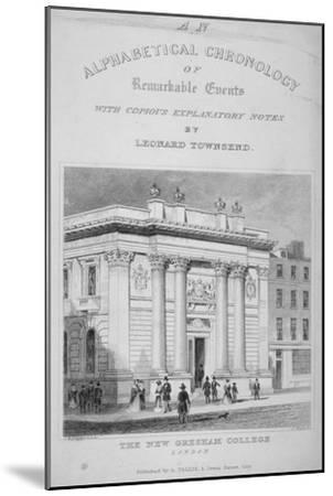 Gresham College, Basinghall Street, City of London, 1845-James Tingle-Mounted Giclee Print