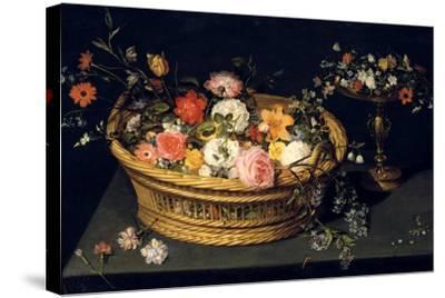 Flower Basket and Goblet in Gilded Silver, Still Life, 17th Century-Jan Bruegel the Younger-Stretched Canvas Print