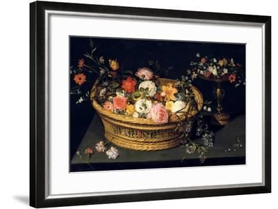 Flower Basket and Goblet in Gilded Silver, Still Life, 17th Century-Jan Bruegel the Younger-Framed Giclee Print