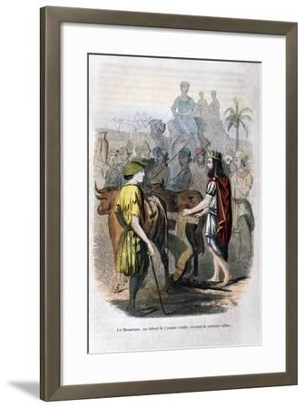The Monarch, at the Beginning of the Rural Year, Opened the First Furrow, 1847-Jean Adolphe Beauce-Framed Giclee Print