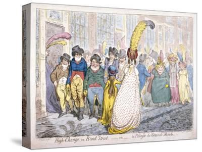 Five Fashionably Dressed Men Advance Along Old Bond Street, Westminster, London, 1796-James Gillray-Stretched Canvas Print