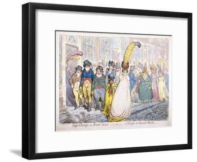 Five Fashionably Dressed Men Advance Along Old Bond Street, Westminster, London, 1796-James Gillray-Framed Giclee Print