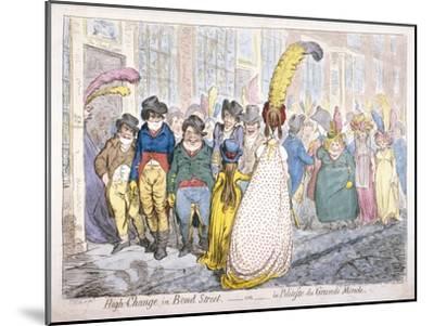 Five Fashionably Dressed Men Advance Along Old Bond Street, Westminster, London, 1796-James Gillray-Mounted Giclee Print