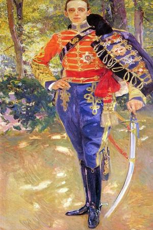 Portrait of King Alfonso XIII in a Hussar's Uniform, 1907-Joaquin Sorolla y Bastida-Framed Giclee Print